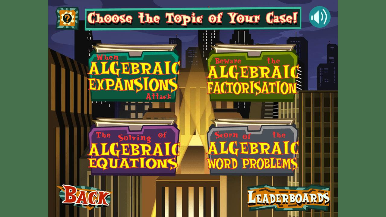 screenshot The Algebra Inspectors education game topic select