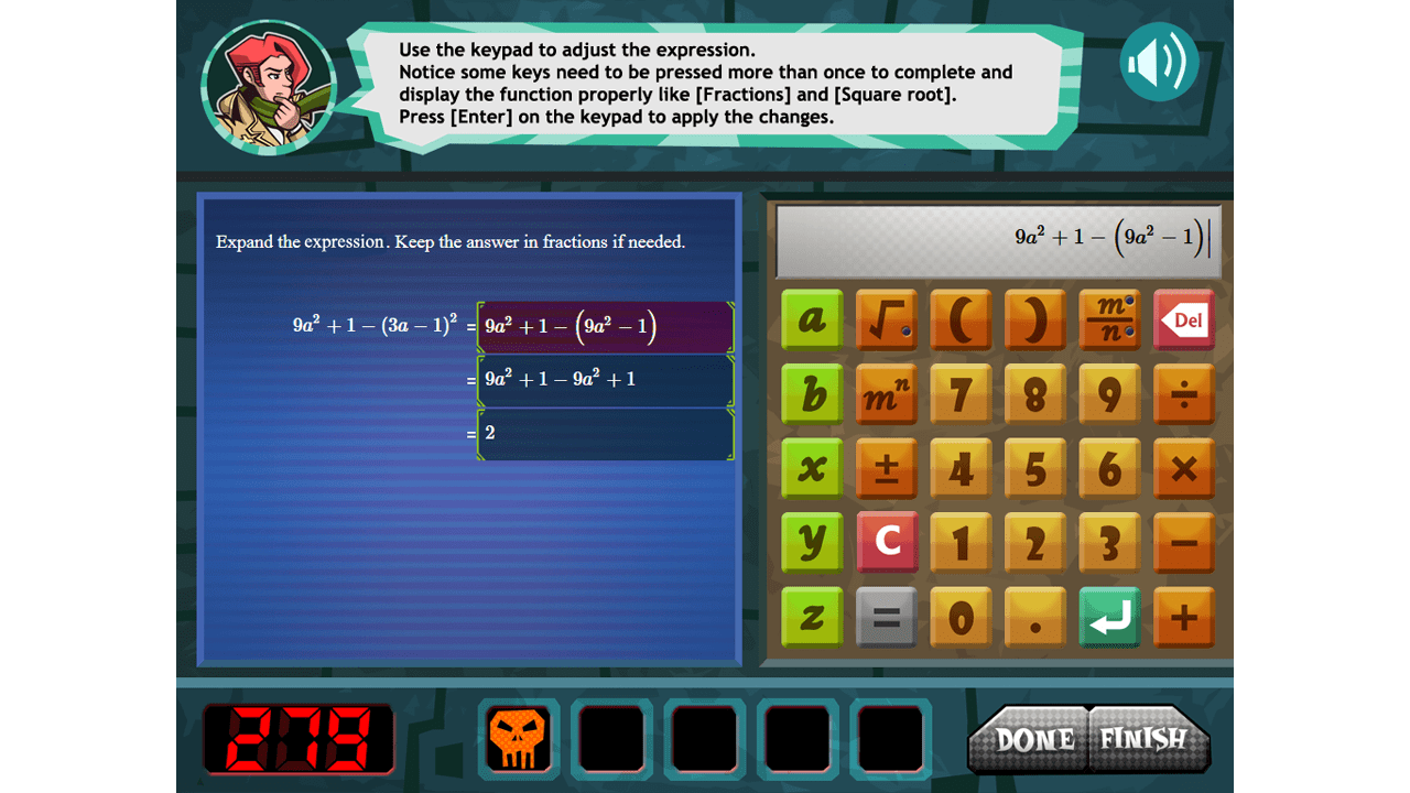 screenshot The Algebra Inspectors education game maths calculator