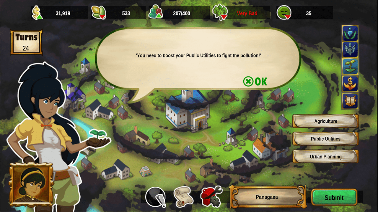 screenshot Cities of Pangaea education game fight pollution