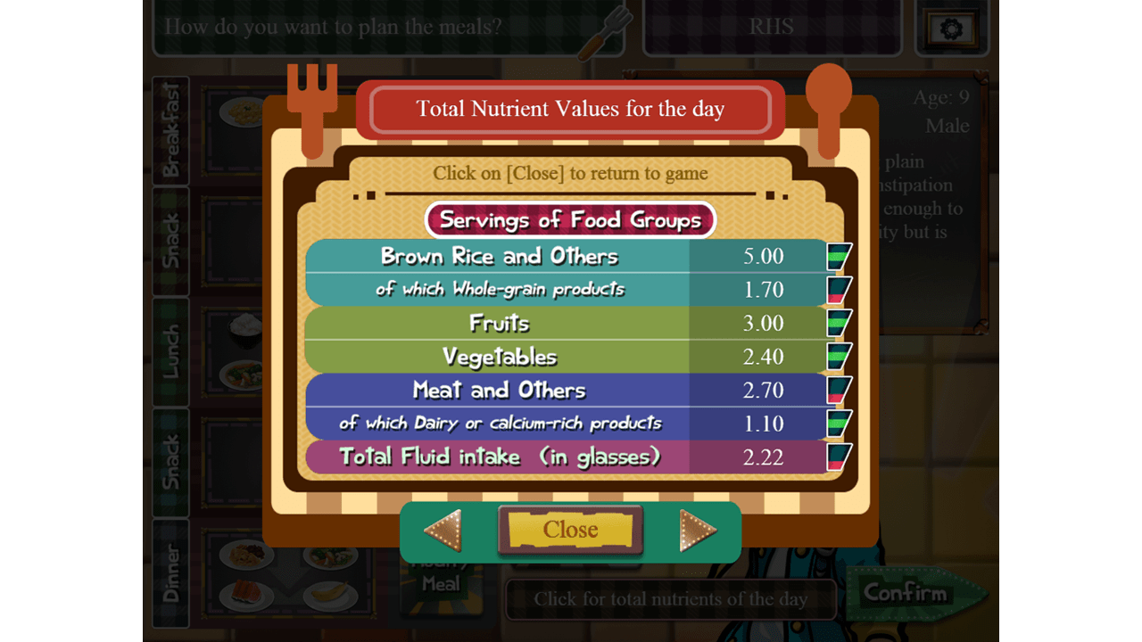 screenshot Nutri Chef education game nutrition values